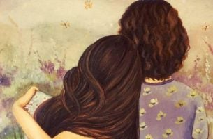 Twee vriendinnen die elkaar door middel van een knuffel liefde tonen