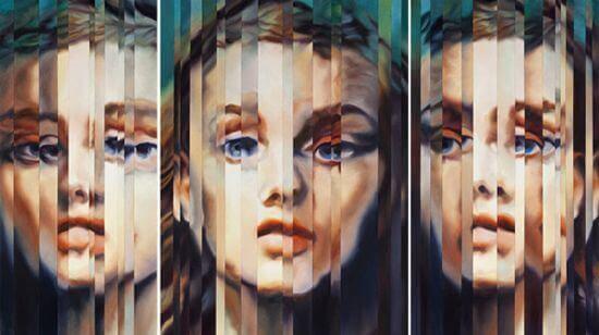 Gefragmenteerde gezichten van een vrouw, als symbool voor de afhankelijke persoonlijkheidsstoornis