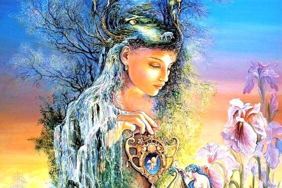 Vrouw is een met haar aard en heeft emotionele volwassenheid bereikt