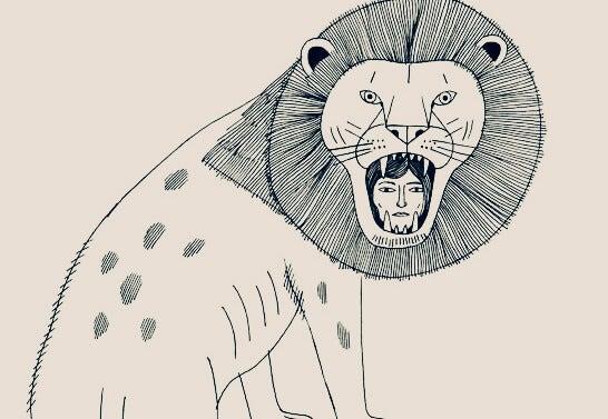 Tekening van een hoofd van een vrouw in de muil van een leeuw
