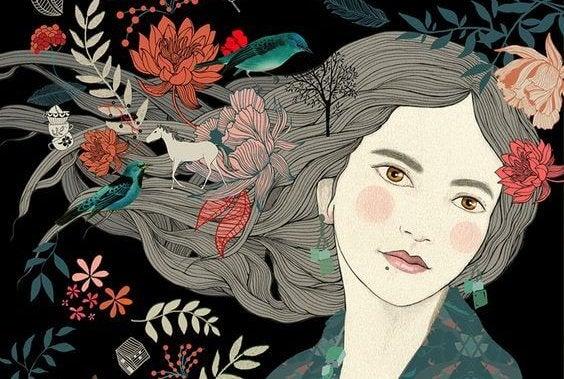 Vrouw met bloemen in het haar