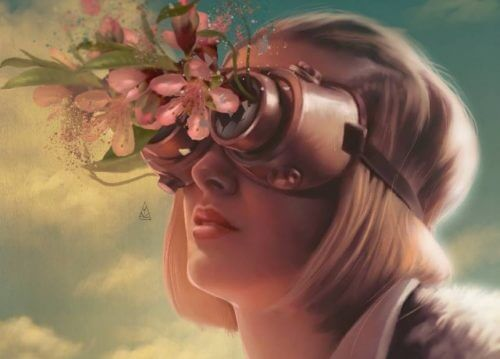 Meisje met bloemen uit haar verrekijker, want haar emoties verwerken heeft haar gelukkiger gemaakt