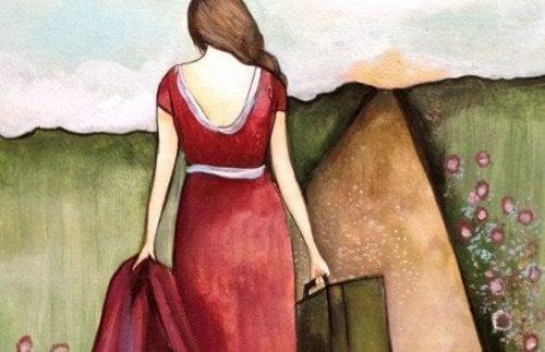 Vrouw trekt de wijde wereld in