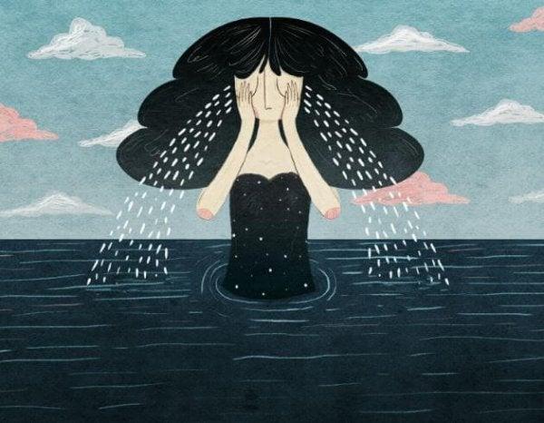 Meisje dat na het verlies van een dierbare een zee aan tranen laat