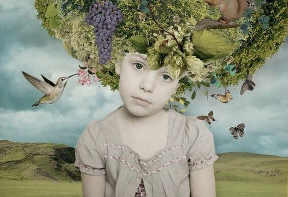 Kindje met een boom op haar hoofd