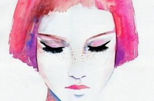 Meisje met kort roze haar