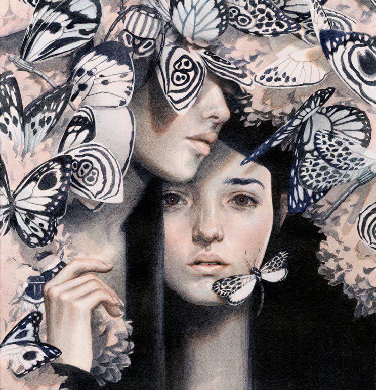 Meisje met een gebroken hart en vlinders om zich heen