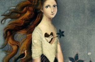 Vrouw met een gat in haar lichaam waar een vogeltje in zit