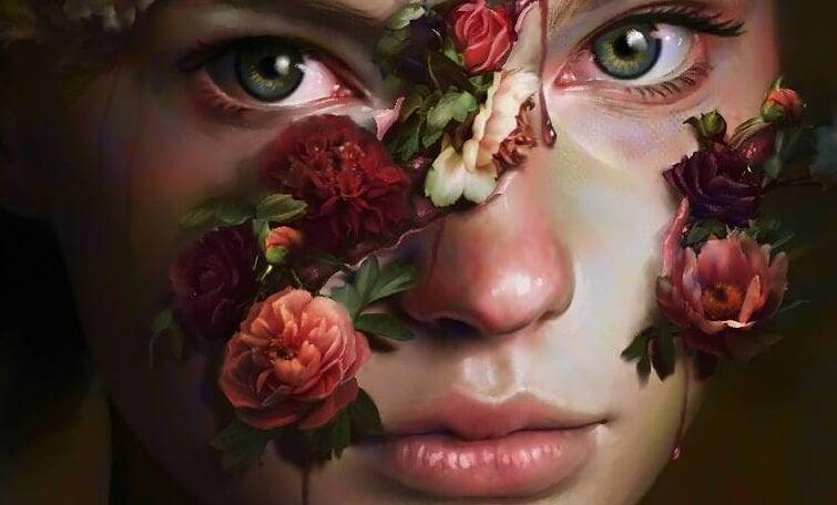 Meisje met rode bloemen op haar gezicht