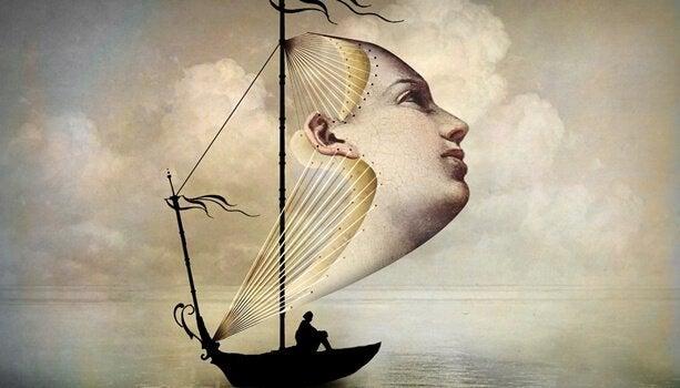 Boot met gezicht al zeil