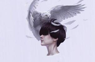 Vrouw die stilzit terwijl er een uil recht op haar hoofd afvliegt, vanwege de hoge verwachtingen die ze heeft