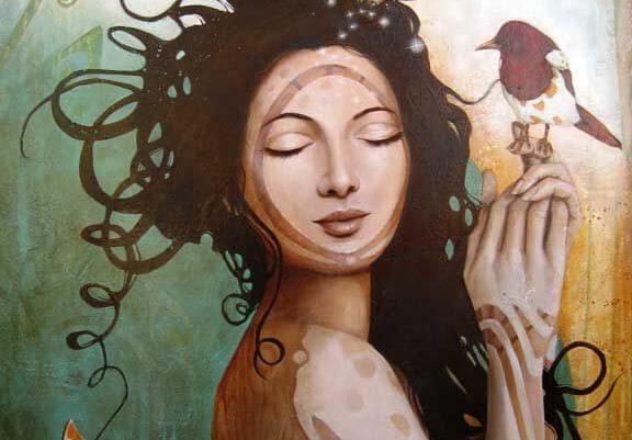 Vrouw met een vogel op haar vinger