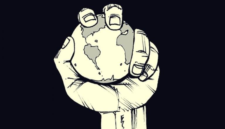 De planeet in handen houden