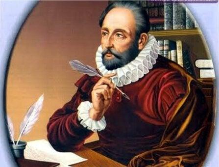 Schilderij van Cervantes die diep in gedachten is en gebruikmaakt van zijn vrije tijd