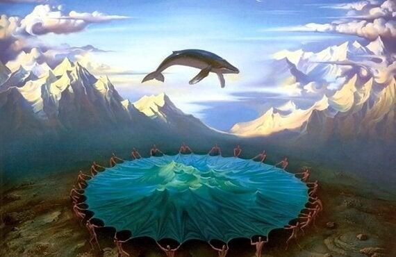 Fantasierijk plaatje van een walvis boven een trampoline