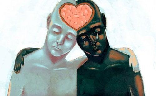 Twee mensen die via hun hoofden aan elkaar verbonden zijn