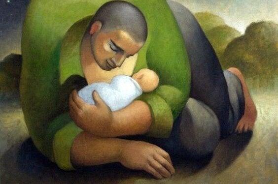 Reusachtige vader met zijn baby
