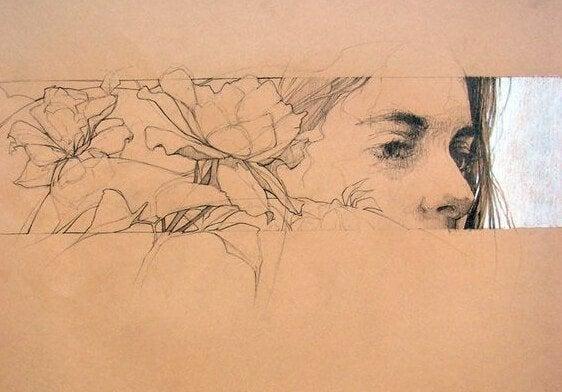 Het gezicht van een vrouw loopt over in bloemen