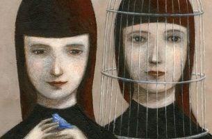 Twee meisjes waarvan er een gevangen zitten in een kooi, als voorbeeld van narcistische gezinnen