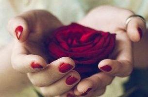 Meisje dat een roos vasthoudt