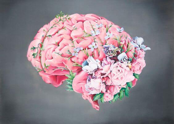 Hersenen waar bloemen overheen groeien