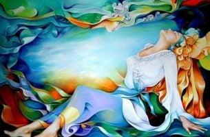 Kleurrijke afbeelding van een mooie vrouw