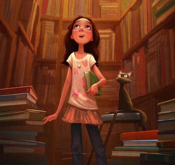 Meisje dat vol bewondering kijkt naar een kamer vol met boeken
