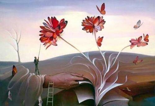 Boek waar bloemen uit groeien