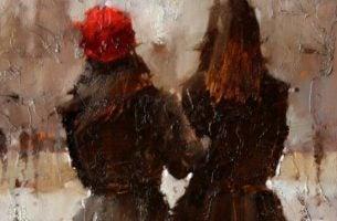 Twee meiden die arm in arm lopen, want ze zijn niet bang voor de liefde