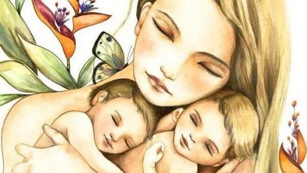 Moeder met haar twee kinderen