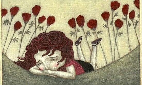 Huilend meisje met klaprozen achter zich