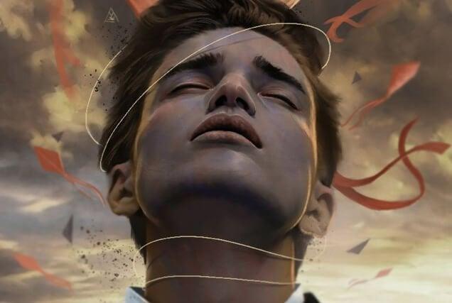 Jongen met een draad om zijn nek, want soms gaat liefde hand in hand met pijn
