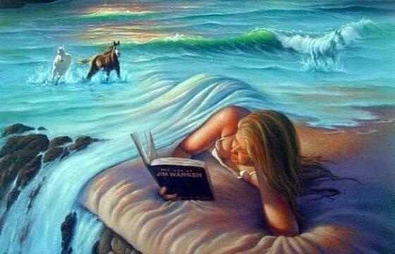 Vrouw die leest in een betoverend landschap met paarden