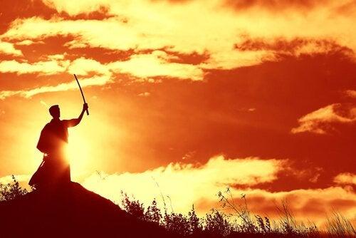 Samoerai bij zonsondergang