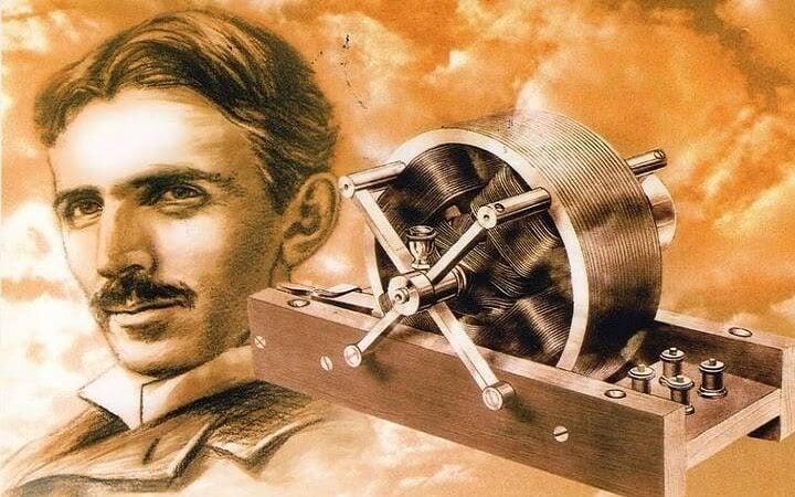 Nikola Tesla en een van zijn uitvindingen