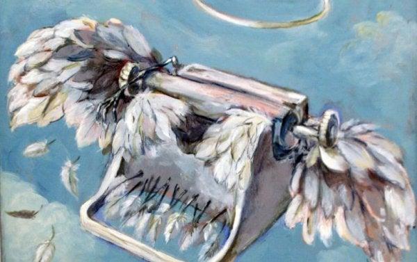 Typemachine waar veren uitgroeien