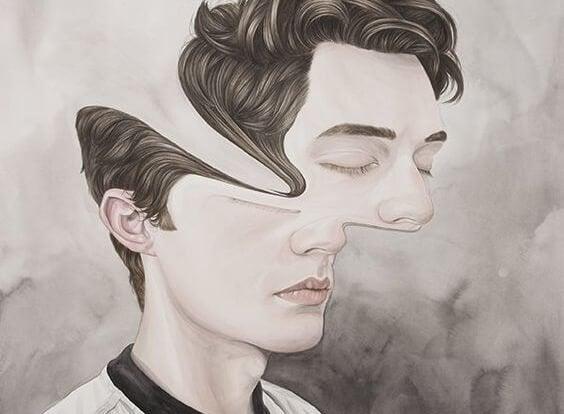 Jongen wiens gezicht misvormd is en zijn ogen sluit voor zijn emotionele geremdheid