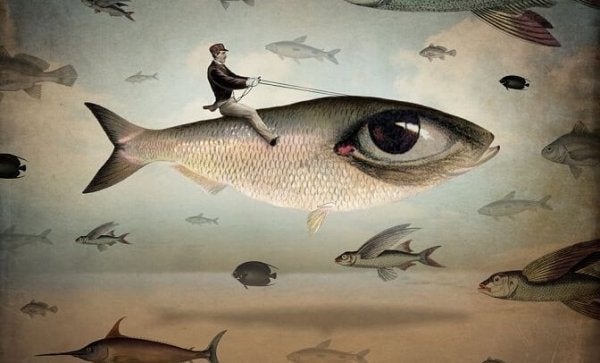 Man die op een vis rijdt