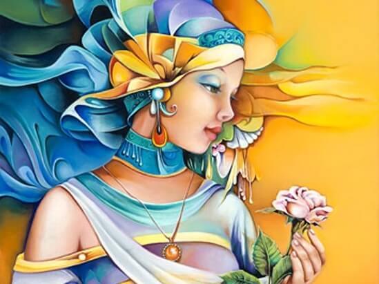 Kleurrijke vrouw met een bloem in haar hand die denkt: ik ben de baas over mijn eigen hart