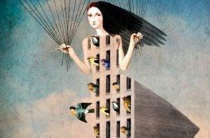 Vrouw wiens lichaam een gebouw is waar allemaal vogels uit komen vliegen als voorbeeld van collectief narcisme