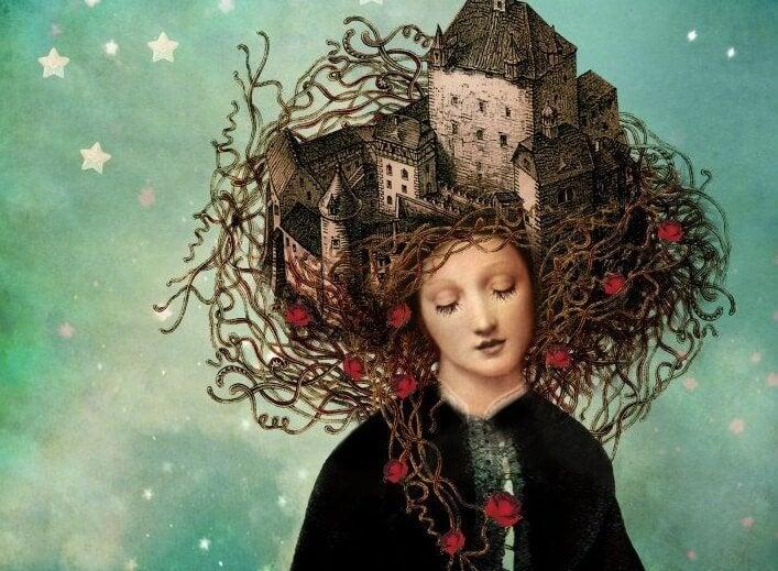 Meisje met kasteel in haar haar