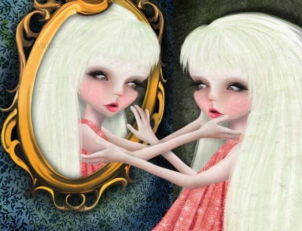 Meisje dat zichzelf aanbidt in de spiegel