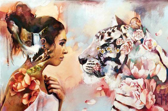 Vrouw die ook in oog staat met een tijger