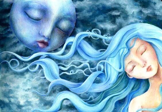 Vrouw met blauw haar en de maan