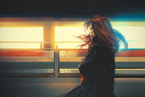 Meisje dat op een station staat