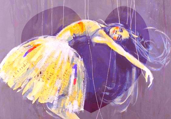 Ballerina die in draden hangt