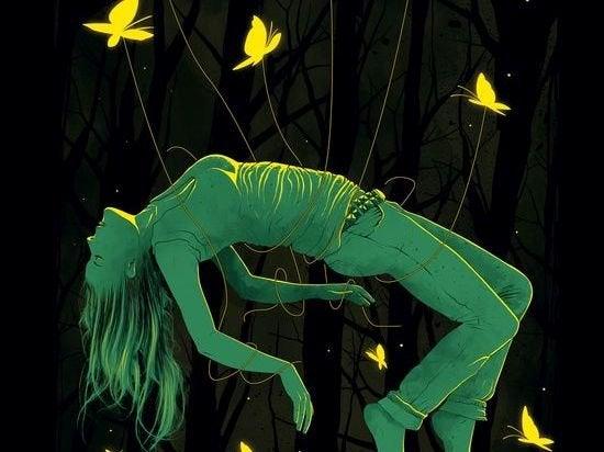 Meisje dat getild wordt door vlinders