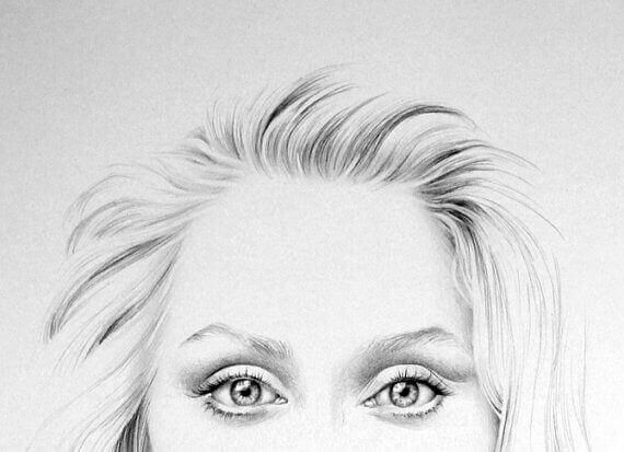 Tekening van de ogen van Meryl Streep