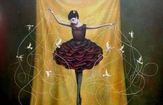 Ballerina met vogels