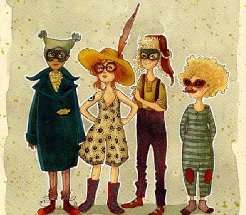 Gekke vrienden in kostuum
